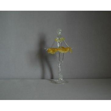 Figúrka tanečnice-balerínky v žltých šatách, číre sklo www.sklenenevyrobky.cz