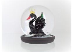 Sněžící koule 6cm - černá labuť s korunkou na hlavě