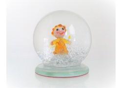 Sněžící koule 6cm - malý anděl se svíčkou