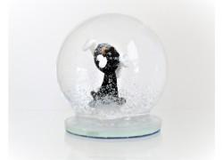 Sněžící guľa 8cm - čierny pes s kosťou
