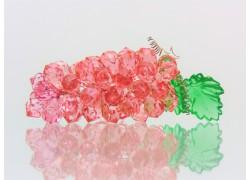 Strapec hrozna z brúsených komponentov veľký 13x4x4 cm ružový www.sklenenevyrobky.cz