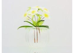 Květina v baňce kopretina 9x6cm www.sklenenevyrobky.cz