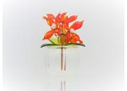 Flower in a flask 9x6cm red www.sklenenevyrobky.cz