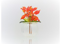 Květina v baňce 9x6cm červená www.sklenenevyrobky.cz