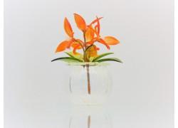 Květina v baňce oranžová 9x6cm www.sklenenevyrobky.cz