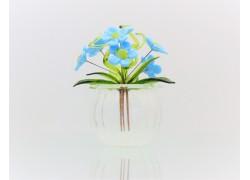 Květina v baňce Pomněnka 9x6cm modrá www.sklenenevyrobky.cz