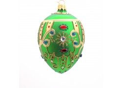 Faberge egg green mat 7001, decorated with glass stones www.sklenenevyrobky.cz