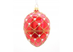 Fabergé vajíčko červený lesk zdobené perličkami 10x6,5cm