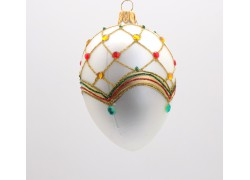 Faberge eggs in a white decor decorated with glass stones www.sklenenevyrobky.cz