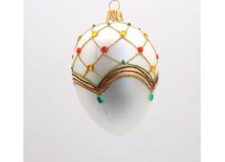 Fabergé vajíčko 5002 červený lesk zdobené kameny 10x6,5cm