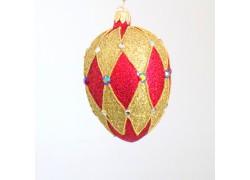 Fabergé vejce 5001 červeno zlaté zdobené 10x6,5cm