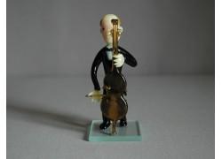 Figurine - musician playing contrabass www.sklenenevyrobky.cz