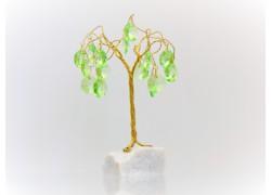 Stromek pro štěstí s křišťálovými ověsy zlatý malachyt 12x6,5x6,5cm