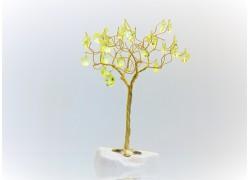 Stromek pro štěstí s křišťálovými ověsy zlatý citrín 6,5x6,5x21cm