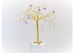 Stromek pro štěstí s křišťálovými ověsy zlatý AB 6,5x6,5x21cm