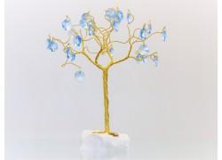 Stromek pro štěstí s křišťálovými ověsy zlatý vodní modř 6,5x6,5x21cm