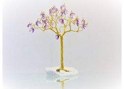 Stromek pro štěstí s křišťálovými ověsy zlatý ametyst 6,5x6,5x21cm