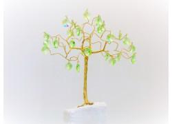 Stromek pro štěstí s křišťálovými ověsy zlatý ušlechtilá zeleň 6,5x6,5x21cm