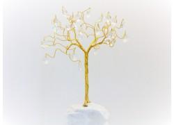 Stromek pro štěstí s křišťálovými ověsy zlatý crystal 6,5x6,5x21cm