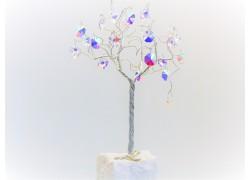 Stromek pro štěstí s křišťálovými ověsy stříbrný AB 6,5x6,5x21cm