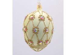 Fabergého vajíčko 2001 zdobené sklenenými kameňmi www.sklenenevyrobky.cz