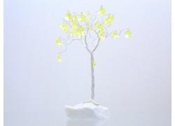 Stromek pro štěstí s křišťálovými ověsy stříbrný citrín 6,5x6,5x21cm