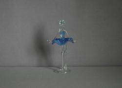 Figúrka tanečnice, balerína, v modrých šatách, číre sklo