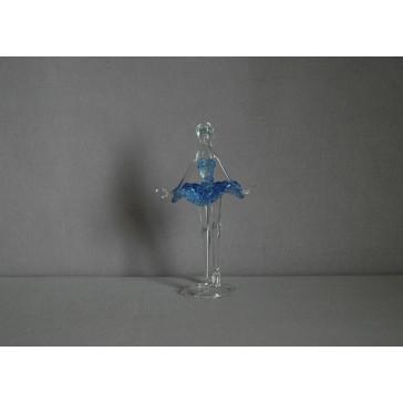 Figúrka tanečnice, balerína, v modrých šatách, číre sklo www.sklenenevyrobky.cz