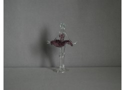 Figurka tanečnice, balerína, ve fialových šatech, čiré sklo