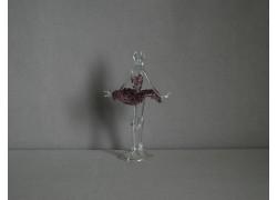 Figúrka tanečnice, balerína, vo fialových šatách, číre sklo