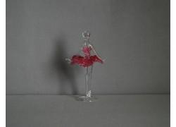 Figúrka tanečnice, balerína, v ružových šatách, číre sklo