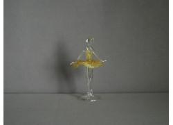 Figurka tanečnice, balerína, v žlutých šatech, čiré sklo