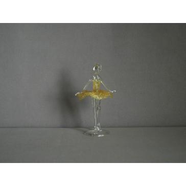 Figurka tanečnice, balerína, v žlutých šatech, čiré sklo www.sklenenevyrobky.cz