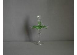 Figurka tanečnice, balerína, v zelených šatech, čiré sklo