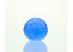 Glass Glob paperweight 60 mm blue www.sklenenevyrobky.cz