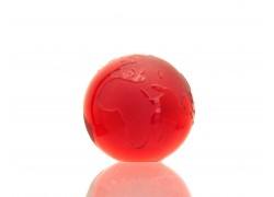 Glass Globe paperweight 80 mm ruby www.sklenenevyrobky.cz
