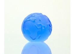 Glass Glob paperweight 80 mm blue www.sklenenevyrobky.cz