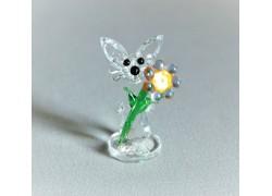 Zajíc s květinou 708 crystal 2,5x5x3 cm