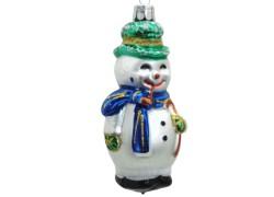 Vianočná ozdoba Snehuliak s fajkou, modrý šál