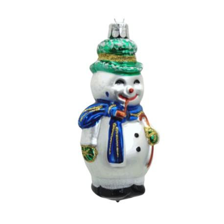 Vánoční ozdoba Sněhulák, hůlka fajfka III 11x5.5x5 cm