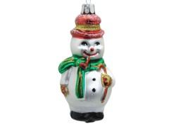 Vánoční ozdoba Sněhulák s dýmkou, zelená šála