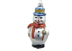 Christmas ornament snowman with pipe, red scarf