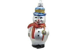 Vánoční ozdoba Sněhulák s dýmkou, červená šála