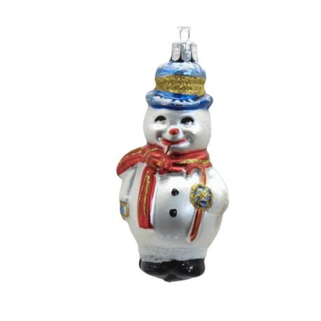 Vánoční ozdoba Sněhulák, hůlka fajfka II 11x5.5x5 cm