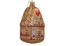 Christmas decoration gingerbread house brown-gold www.sklenenevyrobky.cz