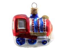 Vánoční ozdoba lokomotiva F 11 modrá