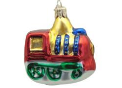 Vánoční ozdoba lokomotiva, v červeno zlatém dekoru F11 www.sklenenevyrobky.cz