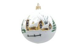 Vánoční ozdoba koulička 80 mm kostelíček a roubenka žlutá