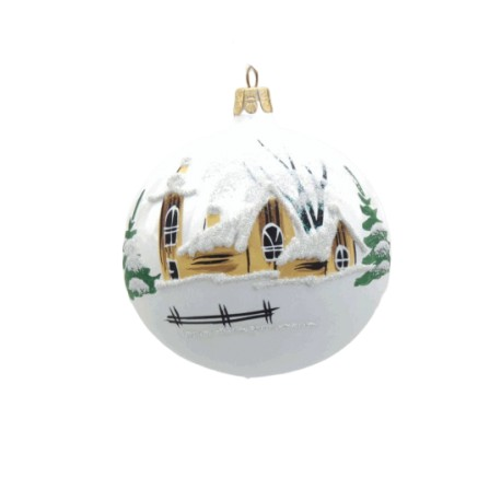 Christmas ornament, balls 80mm, small church and wooden house, white www.sklenenevyrobky.cz