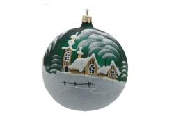Vianočná ozdoba, gule 80mm, kostolík a drevenica, zelená www.sklenenevyrobky.cz
